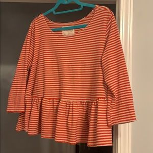 We The Free Stripe Peplum Top Large 3/4 Sleeve